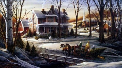"Terry Redlin ""Homeward Bound"" Encore Horse and Sliegh Christmas Tree  Art Print"