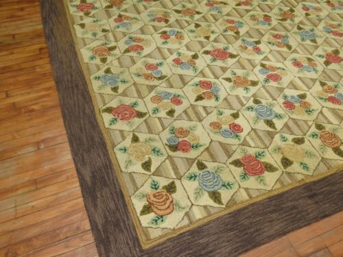 Antique American Hook Hooked Rug Size 8'3''X11'9''