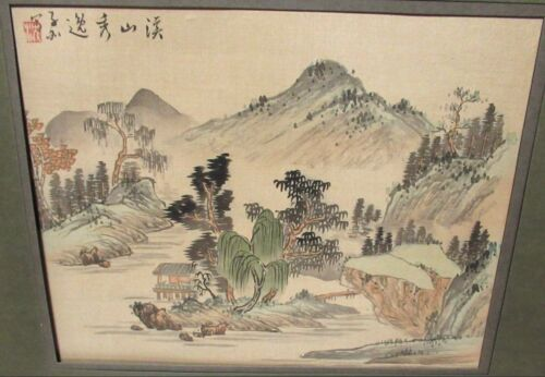 CHINESE ORIGINAL WATERCOLOR MOUNTAIN VILLAGE PAINTING SIGNED