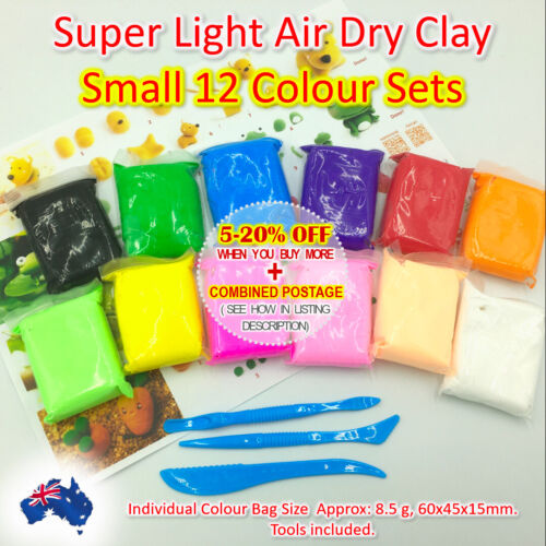 Air Dry Clay 12 Colour Pack  DIY Craft Gift Soft Clay Super Light Modeling Clay