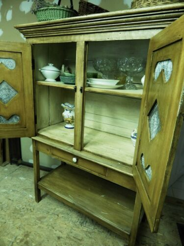 Antique Painted Pine Farmhouse CUPBOARD/PIE SAFE in 2-Parts.