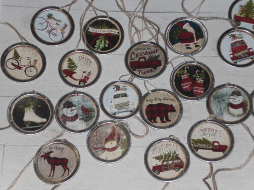 10 Primitive Nostalgic Christmas Red Truck & More Metal Rim Hang Tags Gift Ties