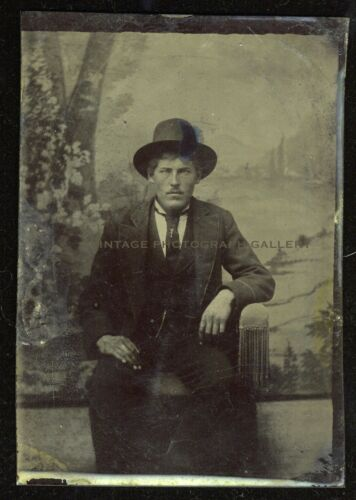 Antique Tintype Photo Serious Man With Hat