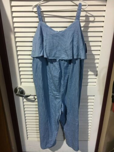 Ingrid & Isabel Womens Maternity Chambray Flounce Jumpsuit Blue Size XXL New