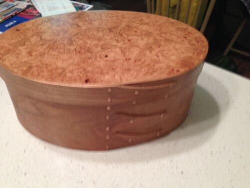 CHERRY AND MAPLE BURL SHAKER OVAL BOX SIZE # 5