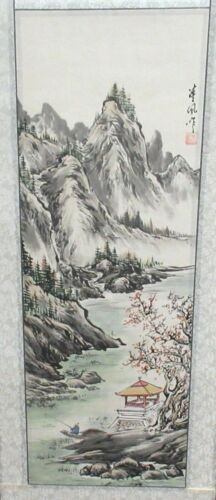 CHINESE ORIGINAL WATERCOLOR MOUNTAIN FISHERMAN LANDSCAPE SCROLL PAINTING SIGNED