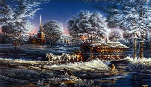 "Terry Redlin "" Morning Frost"" Horse and Wagon  Art Print With COA 24"" x 14"""