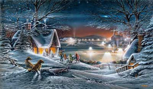 EVENING STAR WINTER SKATING PRINT BY Terry Redlin
