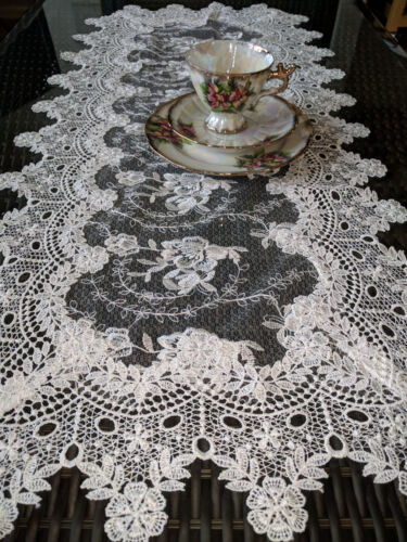 """Dresser Scarf Sheer Lace Vintage English Rose 35"""" x 16"""" Table Runner Victorian"""
