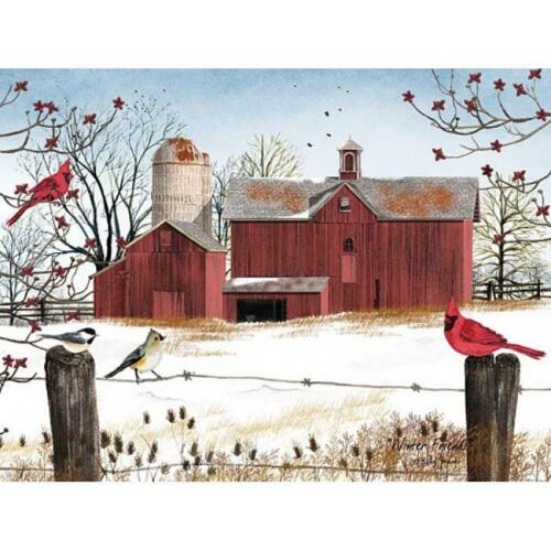 Billy Jacobs Winter Friends Cardinal Chickadee Farm Giclee Art Print  24 x 18