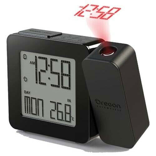 Projection Clock Black 180° Rotatable Projection Head w/ Fixed Focus Length
