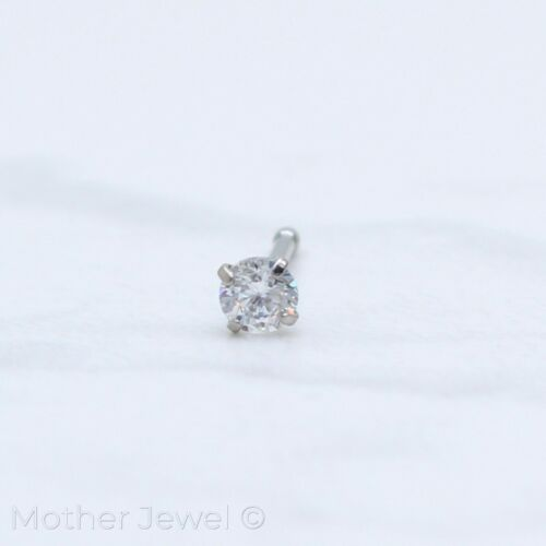 20G SILVER SURGICAL STEEL 3MM ROUND SIMULATED DIAMOND NOSE MENS WOMENS STUD BONE