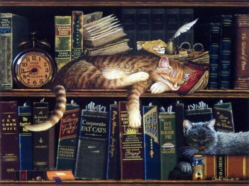 """Remington the Well Red Cat  Art Print By Charles Wysocki  Image size 12"""" x 9"""""""