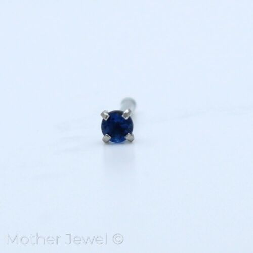 ROUND 2MM SAPPHIRE BLUE CZ 20G SURGICAL STEEL WOMENS NOSE STUD BONE NOSTRIL PIN
