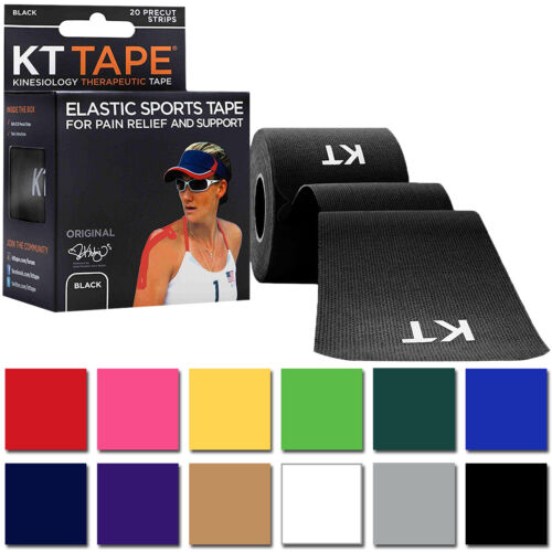 """KT Tape Cotton 10"""" Precut Kinesiology Therapeutic Elastic Sports Roll, 20 Strips <br/> #1 Seller of KT Tape on eBay - Over 450,000 Feedbacks"""