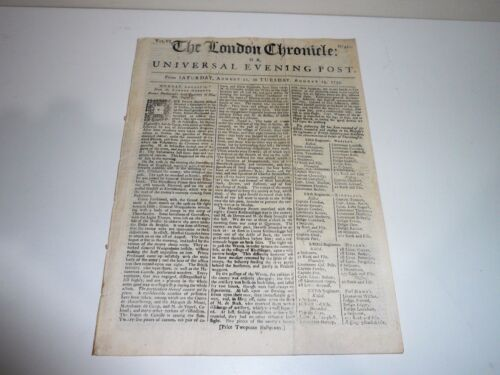 THE LONDON CHRONICLE OR UNIVERSAL EVENING POST DATED 1759