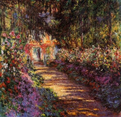 Handmade Oil Painting repro Claude Monet Pathway in monet's garden at giverny