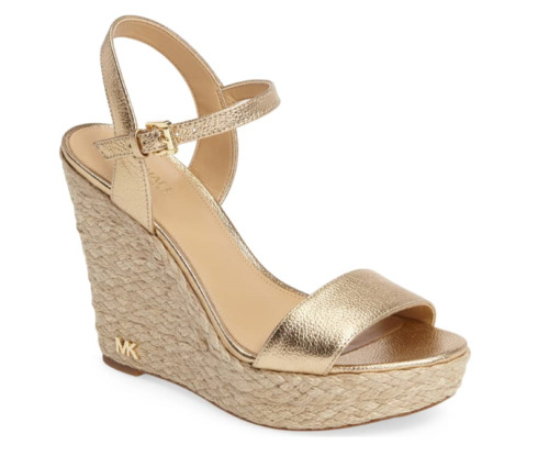 Michael Kors Jill Leather Wedge Pale Gold Women's sizes 5-11/NEW!!!