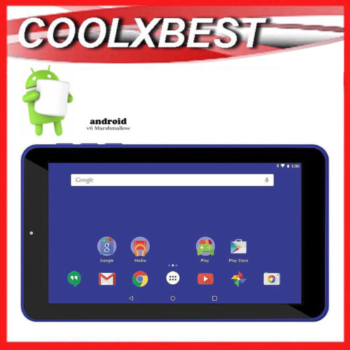 "7"" BLUE ANDROID 6.0 TABLET PC QUAD CORE 16GB BLUETOOTH & WiFi KIDS STUDENT"