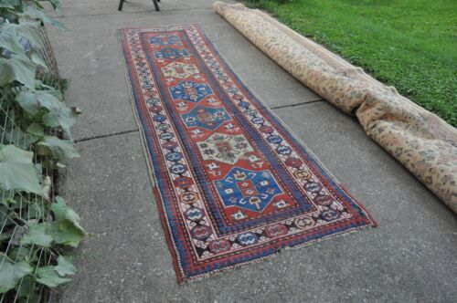 Antique Caucasian Kazak Rug Runner 3.6x12 #367