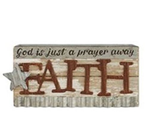 FAITH God is just a prayer away - Tin & Wood Star Rustic Country Sign Primitive