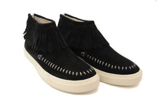 Pegia Ladies Leather and Suede Casual Black Apache Style Fringed Trainers