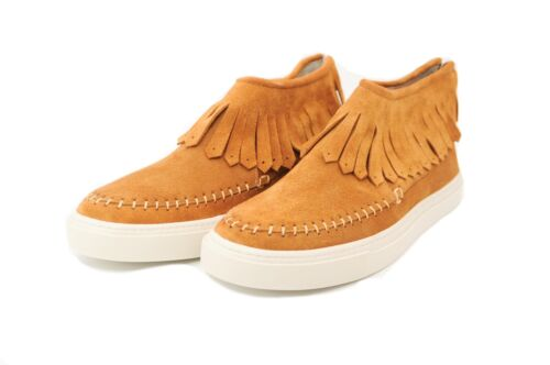 Pegia Suede Tan and Leather Casual Apache Pumps with a Fringe Trim