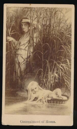"""1860-70's CDV Photograph -Artist Unknown """"Concealment of Moses"""""""