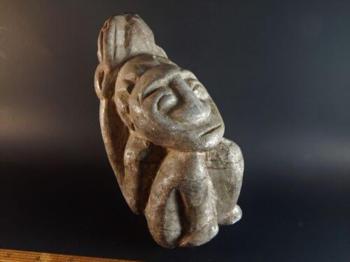 """Tribal Ethnic African Central American Pre-Columbian Carved Stone Figure 7"""" High"""
