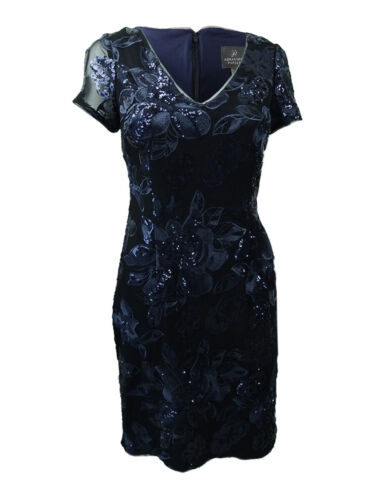 Adrianna Papell Women's Short-Sleeve Sequin Lace Dress