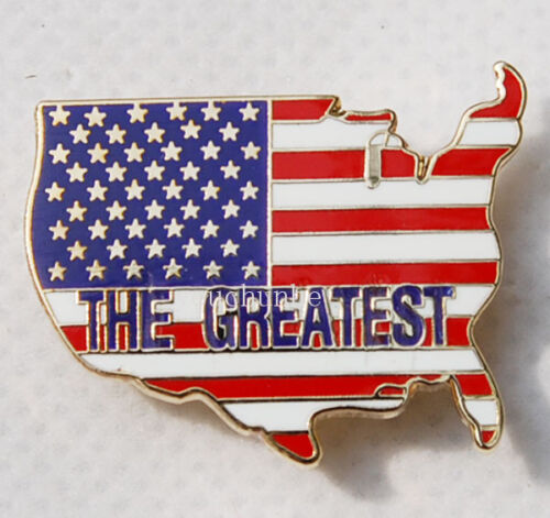 U.S. US AMERICA ARMY FLAG MAP MATAL PIN BADGE THE GREATEST -32190Reproductions - 156452