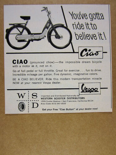 1969 Vespa CIAO Moped Scooter photo vintage print Ad