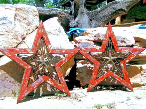 TWO wood Wall Stars with Cast Iron 0368 0369