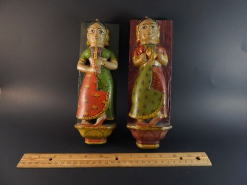 Two Old Hindoostan India Rajas Bhuta Carved Painted Wood Temple Musicians