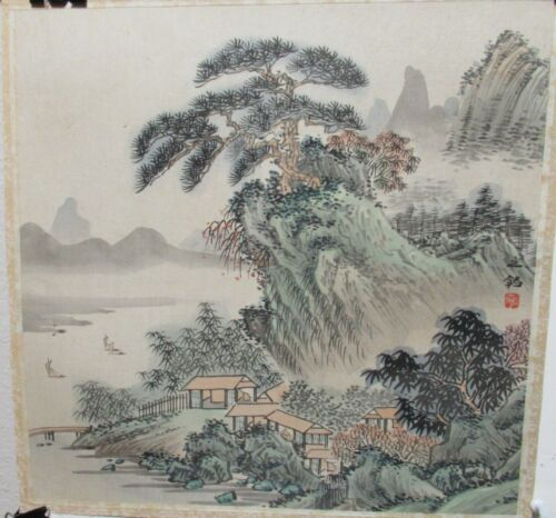 CHINESE YANGTZE RIVER VILLAGES WATERCOLOR ON SILK PANEL PAINTING SIGNED