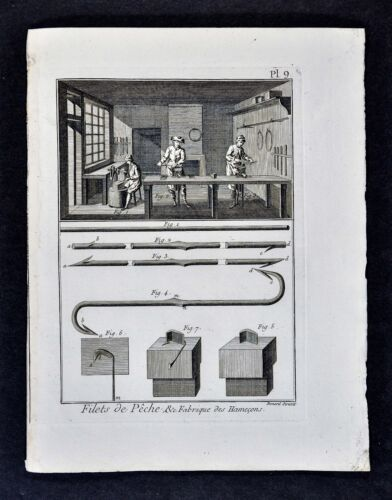 1782 Encyclopedic Methodique Print - Fish Hook Fabricating Shop - Barbed Fishing