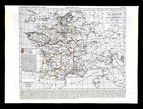 1849 Houze Map - France Charles VI 1380-1422 Paris Flanders Normandy Dauphine