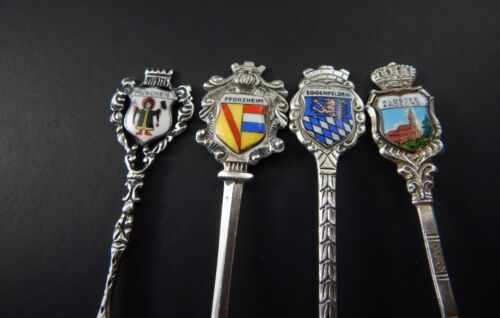 Four 800 Silver Enamel Souvenir Spoons German Cities Munchen EggenFelden Etc