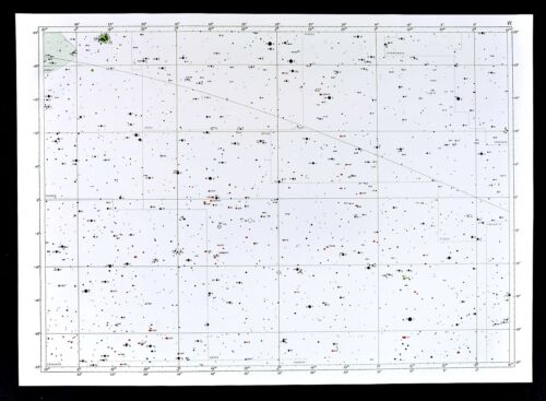 1950 Star Map Chart Aries Cetus Pisces Amadromeda Constellations Universe Large