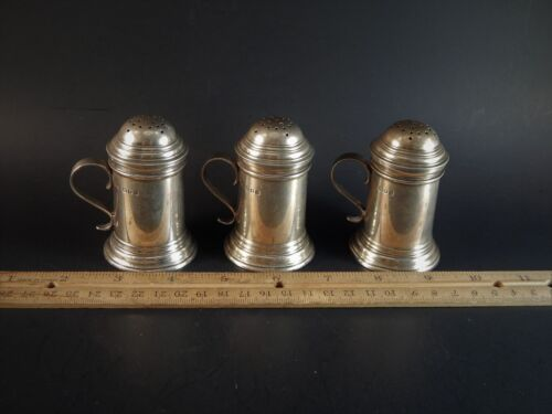 Three Rare Sterling Silver Pepperette PepperShaker  Pots London England