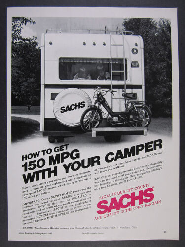 1980 Sachs Moped back of rv photo vintage print Ad