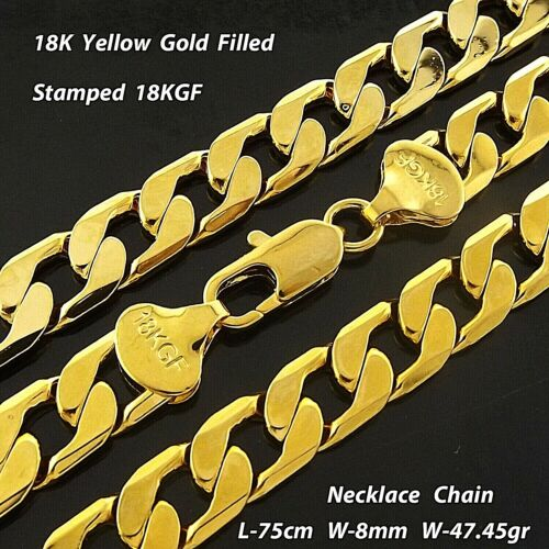 """Necklace Chain 18k Yellow G/F Gold Solid Mens Heavy Curb Cuban Bling Link 30"""""""