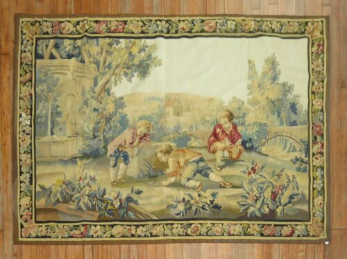 Antique French Tapestry 19th Century Size 4'9''x6'9''