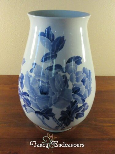 Large Chinese? Blue and White Porcelain Calligraphy Vase with Flowers Unsigned