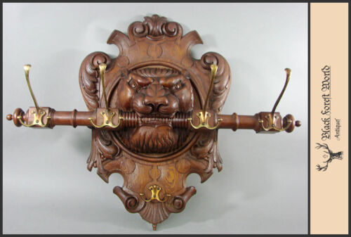 carved wood lion wall hook rack wardrobe armoires germany 1900