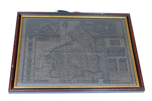 Antique Repro of John Speed 17th Century Map of Pembrokeshire Framed Darkened