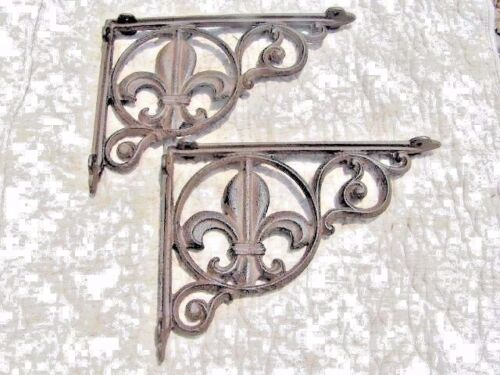 2 Cast Iron Shelf Brackets, support braces