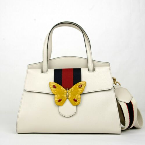 b2eca7fca91  3490 Gucci Ivory Leather Butterfly Totem Medium Top Handle Bag 505344 9674