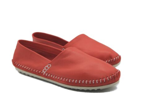 Soft Red Leather Slip On Loafer with Stitch Detail
