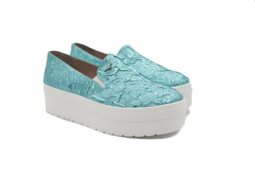 Art Goya Ladies Slip On Turquoise Flat Platform with Textured Upper Loafers